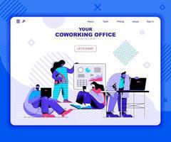 modelo de página de destino do coworking office vetor