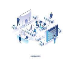 local de coworking ou design isométrico de escritório compartilhado vetor