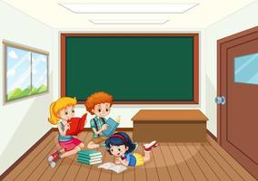 alunos na sala de aula vetor