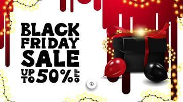 banner preto de venda sexta-feira com presente e balões