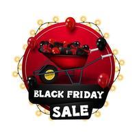 venda de sexta-feira negra, banner de desconto com círculo vermelho
