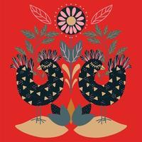 arte folclórica floral padrão quadrado com pássaros vetor
