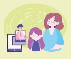 educação online com professor, aluno e seus pais vetor