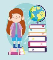 aluna em cima de uma pilha de livros