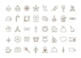 decoração de natal e conjunto de ícones de celebração