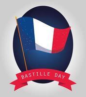 banner de celebração do dia da bastilha com elementos franceses vetor