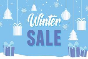venda de inverno e banner publicitário com caixas de presente