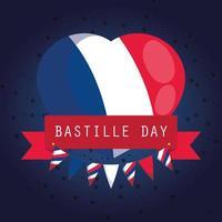banner de celebração do dia da bastilha com bandeira nacional francesa vetor