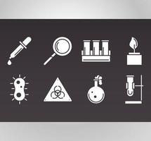 conjunto de ícones de biologia, química e ciência vetor