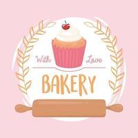 composição do emblema de cupcake de padaria e rolo de massa vetor