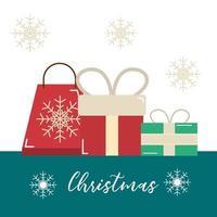feliz natal, sacola de compras e cartão comemorativo de presentes
