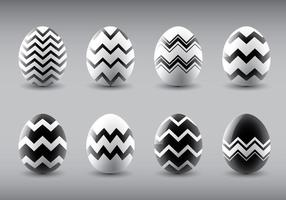 Preto e branco Vector Easter Eggs