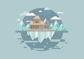 Vector tempestade de neve da montanha