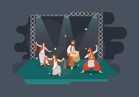 Homem e mulheres livres Desempenho Bhangra Dance In Ilustração Stage vetor