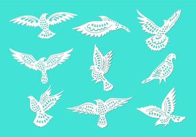 Dove ou símbolos Paloma Paz do corte do papel do estilo de vetores