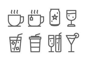 Conjunto de ícones de bebidas vetor