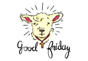 Lâmpada Watercolor de Deus Com Holy Cross Para Sexta-Feira Santa feriado cristão vetor
