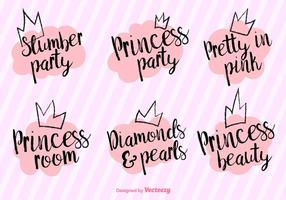 Frases Princess Party Vector