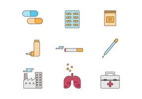 Livre Asma Medical Icons Vector