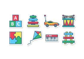 Conjunto de ícones de brinquedos infantis vetor