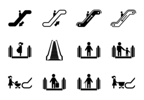 Escada rolante Icons Vector