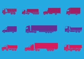 Camion e caminhões Icons Set vetor