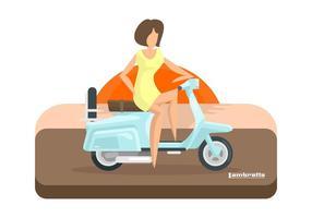 Lambretta do sol com Rider Ilustração vetor