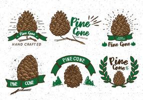 Pine Cones Etiqueta da etiqueta do vintage vetor