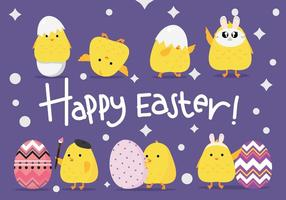 Engraçado bonito do pintainho de Easter Vectors