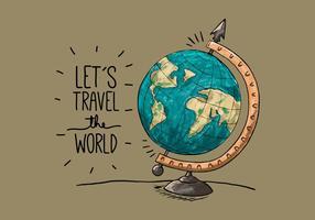 Globo da terra do vintage com citações de viagem vetor