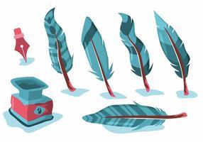 Azul Feather Pluma Vector Set