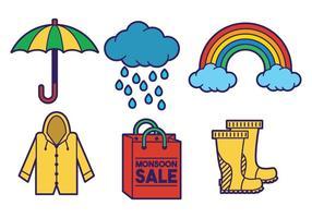 Monsoon set ícone do vetor