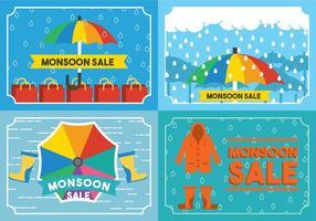 Monsoon Card Set Vector