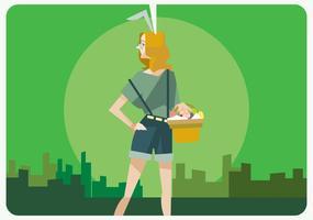 Hipster Girl With Vector Easter Egg Basket