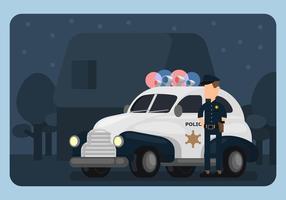 Carro de polícia e Ilustração Policeman vetor