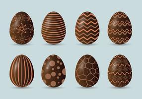 Conjunto de ícones de ovos de páscoa de chocolate vetor