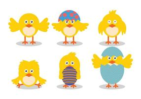Easter Chick Vector Ilustração bonito Set