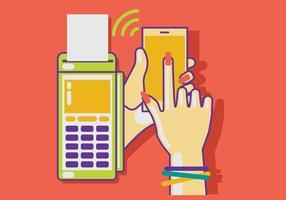 Mulher que paga com tecnologia NFC no telefone móvel vetor