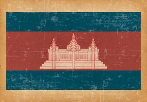 Bandeira do grunge do Camboja vetor