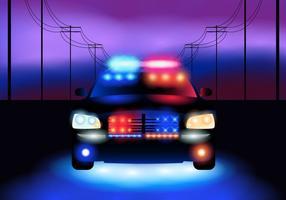 Carro de polícia à noite vetor