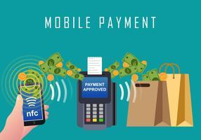 Mobile Payment Com tecnologia NFC vetor