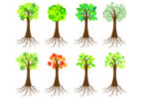 Ícone da árvore com raízes vetor