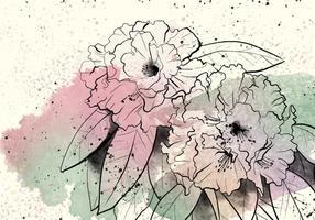 Ilustração rododendro Watercolor vetor