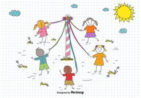 do Maypole Crianças Desenho do vetor