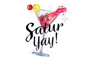 Rosa Aquarela Cocktail bebida com respingo Para Saturday Night
