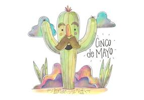Caráter Cactus colorido para Vector Cinco De Mayo