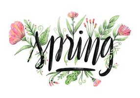 Aguarela floral Primavera Vector Background