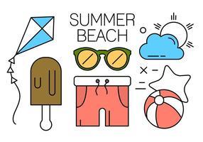 Mínimas ícones da praia do verão Projetado vetor