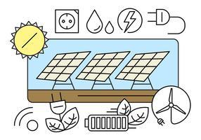 Ícones da energia livre verdes vetor