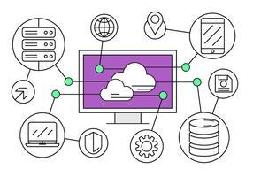 Livre ícones de computação em nuvem vetor